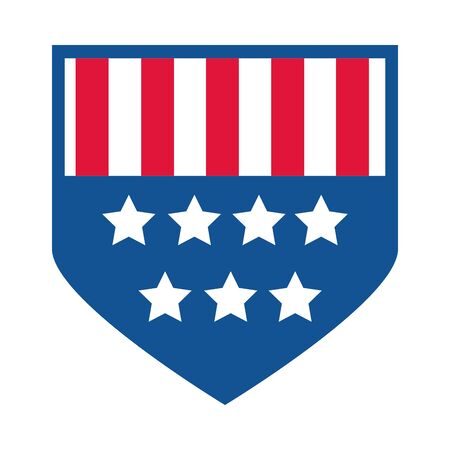 4th of july independence day, american flag shield insignia flat style icon Illusztráció
