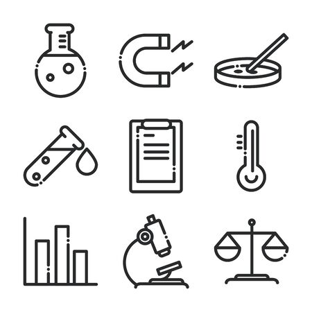 science and research laboratory study icons collection line style icon