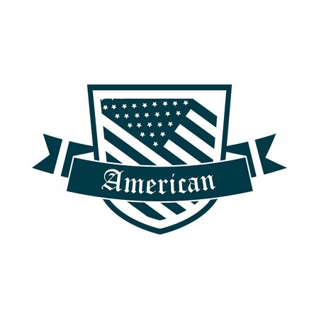 happy independence day, american flag shield banner decoration vector illustration silhouette style icon