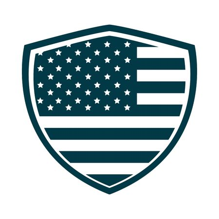 happy independence day, american flag shield patriotic emblem silhouette style icon