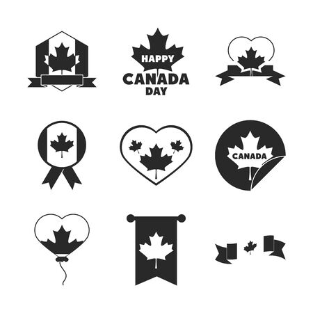 canada day, independence freedom national patriotism celebration icons set silhouette style icon
