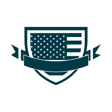 happy independence day, american flag shield ribbon celebration national silhouette style icon