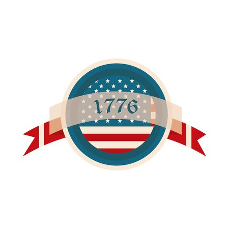 happy independence day, american flag date ribbon button flat style icon