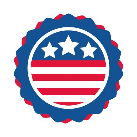 4th of july independence day, american flag emblem national design flat style icon Illusztráció