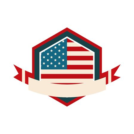happy independence day, american flag shield memorial national banner vector illustration flat style icon