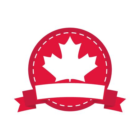 canada day, maple leaf canadian flag color sticker design vector illustration flat style icon Illusztráció