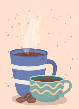coffee time, cups and seeds fresh aroma beverage design vector illustration