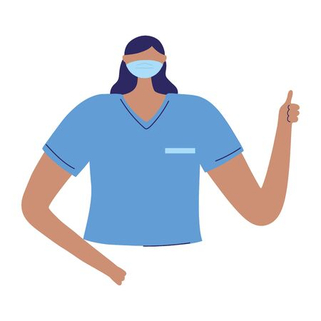 female nurse staff character worker medical isolated design vector illustration