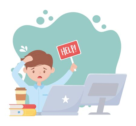stress at work, worried employee with help sign laptop computer and books vector illustration