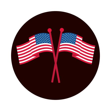 4th of july independence day, crossed american flags national symbol vector illustration block and flat style icon Illusztráció