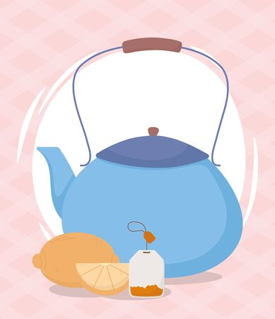 tea time, teapot whole and half lemon teabag design vector illustration