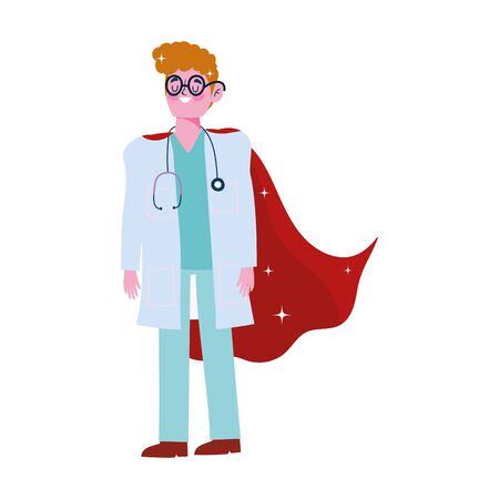 thanks doctor, physician male professional with superhero cape vector illustration