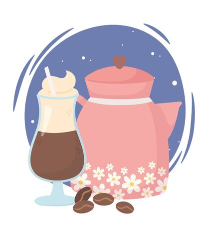 coffee time, kettle and latte cup seeds fresh aroma beverage Ilustracja