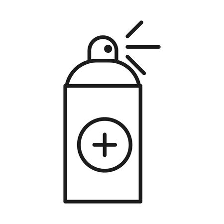 Desinfectant spray with cross line style icon design of Medical care and covid 19 virus theme Vector illustration