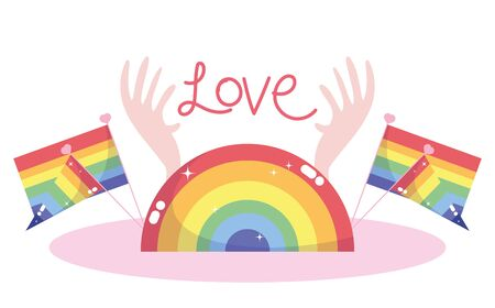 lgtbi half seal stamp flags and love text with hands design, Pride day orientation and identity theme Vector illustration