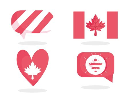 Canadian flag maple leaf bubble and heart of happy canada day vector design