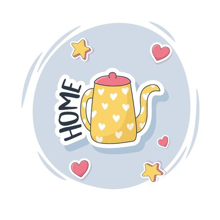 cute kettle with hearts stuff for cards stickers or patches decoration cartoon Ilustracja