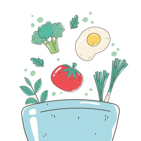 healthy food bowl with tomato egg and broccoli nutrition diet organic vector illustration Иллюстрация
