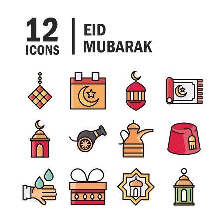 eid mubarak islamic religious celebration traditional icons set vector illustration flat style icon