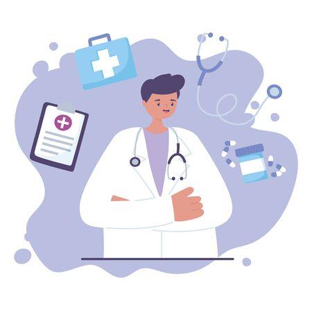 telemedicine, physician with stethoscope professional medical healthcare vector illustration Vektoros illusztráció