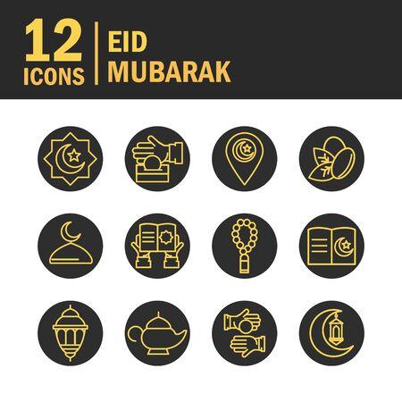eid mubarak islamic religious celebration traditional icons set flat style icon