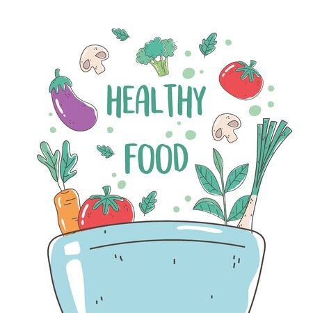 healthy food bowl with tomato eggplant carrot mushroom nutrition diet organic vector illustration Иллюстрация
