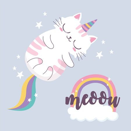 cute sleeping cat horn rainbow cartoon animal funny character vector illustration 스톡 콘텐츠 - 148329517