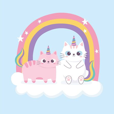 two cats horns and rainbow decoration cartoon animal funny character