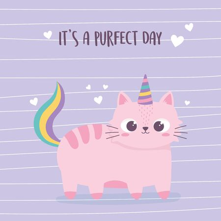 cute pink cat with horn and tail cartoon animal funny character vector illustration
