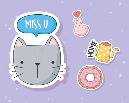 cute cat donut kettle and hand love stuff for cards stickers or patches decoration cartoon vector illustration