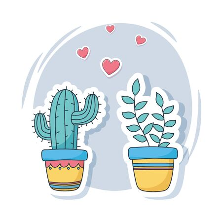 cute potted plants love stuff for cards stickers or patches decoration cartoon vector illustration Çizim