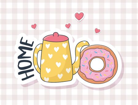 cute donut and kettle love stuff for cards stickers or patches decoration cartoon Ilustracja