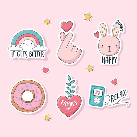 cute hand love heart rabbit rainbow donut stuff for cards stickers or patches decoration cartoon vector illustration Ilustração