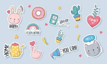 cute stuff for cards stickers or patches decoration cartoon set icons vector illustration Ilustração