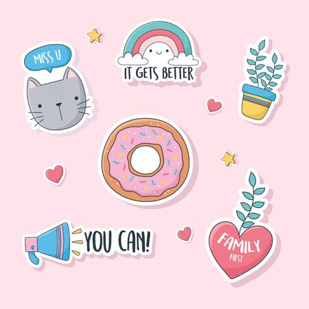 cute cat plant donut speaker rainbow love stuff for cards stickers or patches decoration cartoon vector illustration