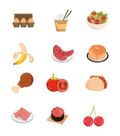 food menu restaurant snack ingredient flat style icons set vector illustration