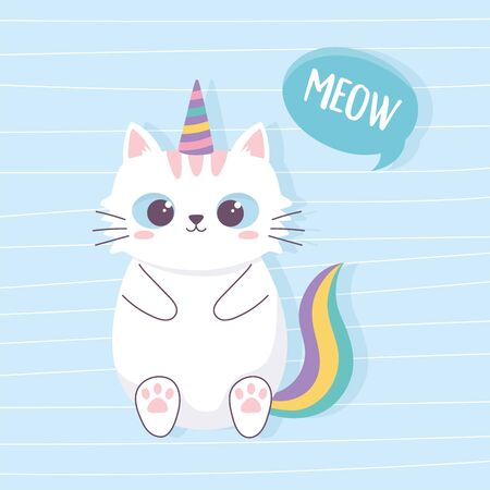 cute cat with unicorn horn and tail cartoon animal funny character vector illustration 일러스트