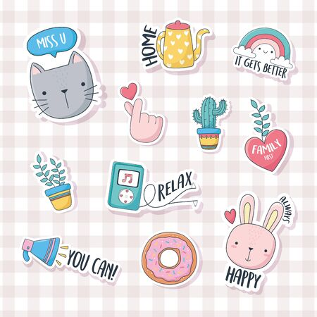cute cat bunny donut music cactus plant speaker stuff for cards stickers or patches decoration cartoon checkered background vector illustration
