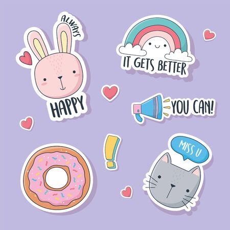 cute bunny donut cat and rainbow stuff for cards stickers or patches decoration cartoon vector illustration Ilustração