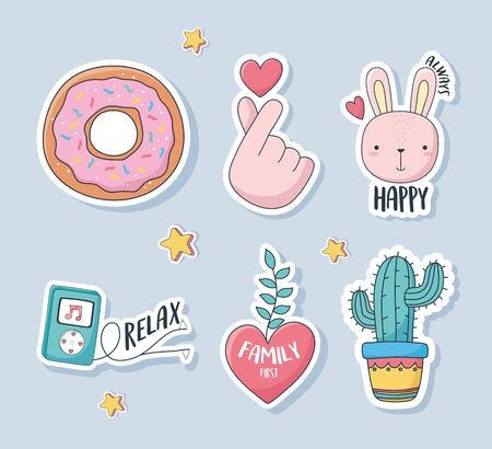 cute donut rabbit heart cactus mp3 music love stuff for cards stickers or patches decoration cartoon