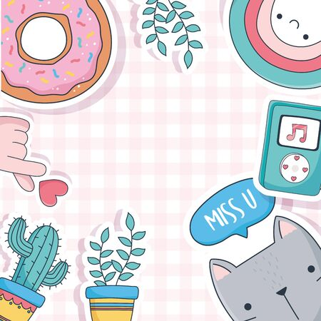cute cat potted plants cactus donut music stuff for cards stickers or patches decoration cartoon vector illustration Ilustração