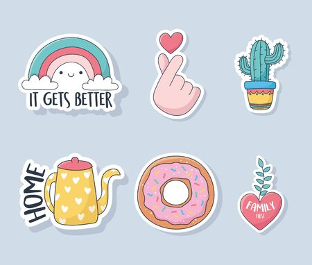cute rainbow cactus kettle donut and heart stuff for cards stickers or patches decoration cartoon vector illustration