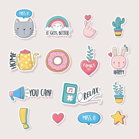 cute stuff for cards stickers or patches decoration cartoon icons set vector illustration