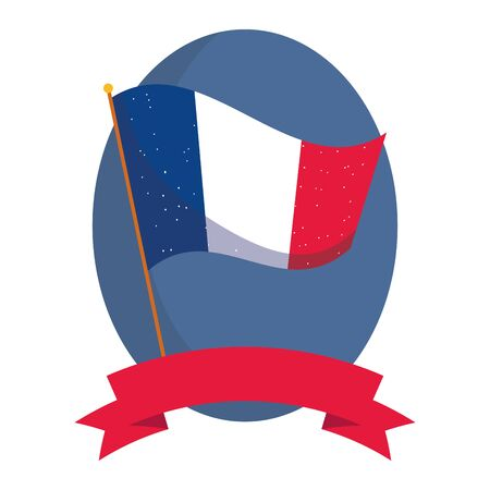 france flag with ribbon design, Happy bastille day and french theme Vector illustration Vector Illustration