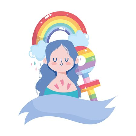girl cartoon with lgtbi rainbow with ribbon design, Pride day orientation and identity theme Vector illustration