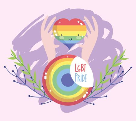 lgtbi heart cartoon with hands and seal stamp design, Pride day orientation and identity theme Vector illustration