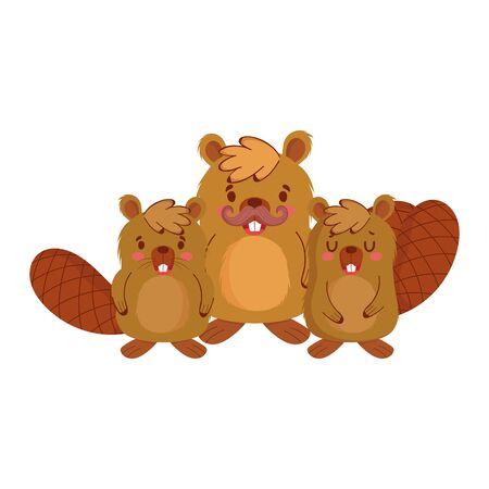 Cute beavers cartoons vector design