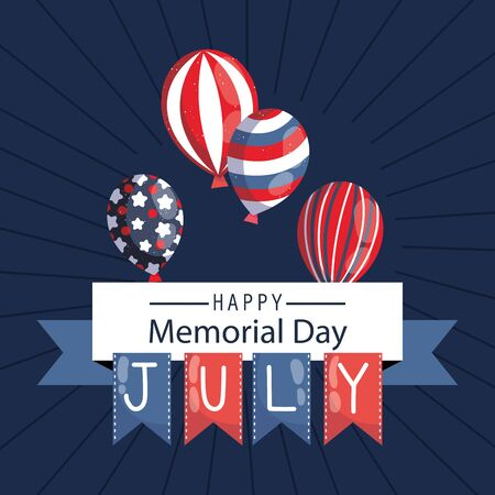 Balloons with banner pennnant of memorial day vector design