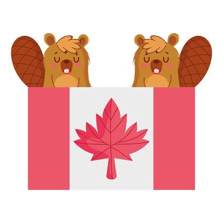 Beavers with canadian flag vector design Stock Illustratie