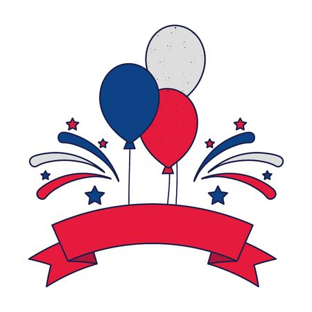 Blue white and red balloons with ribbon and fireworks design, Party celebration entertainment holiday fun birthday decoration and joy theme Vector illustration Ilustracja